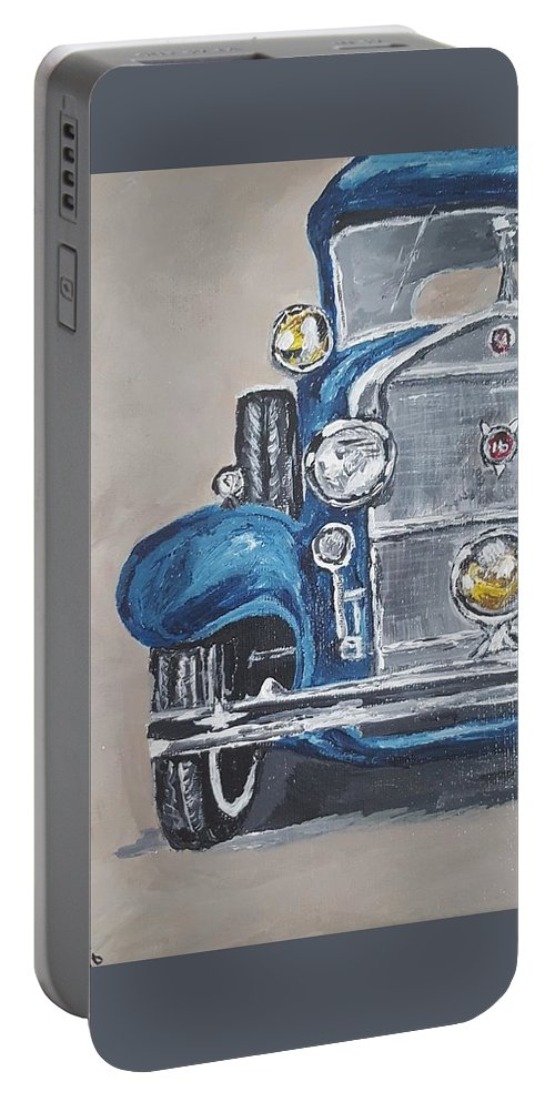 Vintage Car Portable Battery Charger featuring the painting Cadillac V16 by Sherri Spence