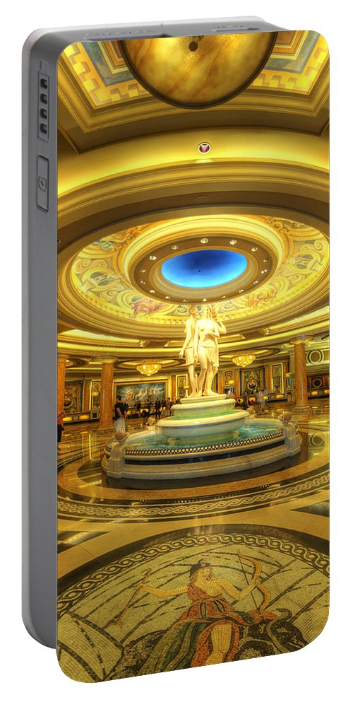 Art Portable Battery Charger featuring the photograph Caesar's Grand Lobby by Yhun Suarez