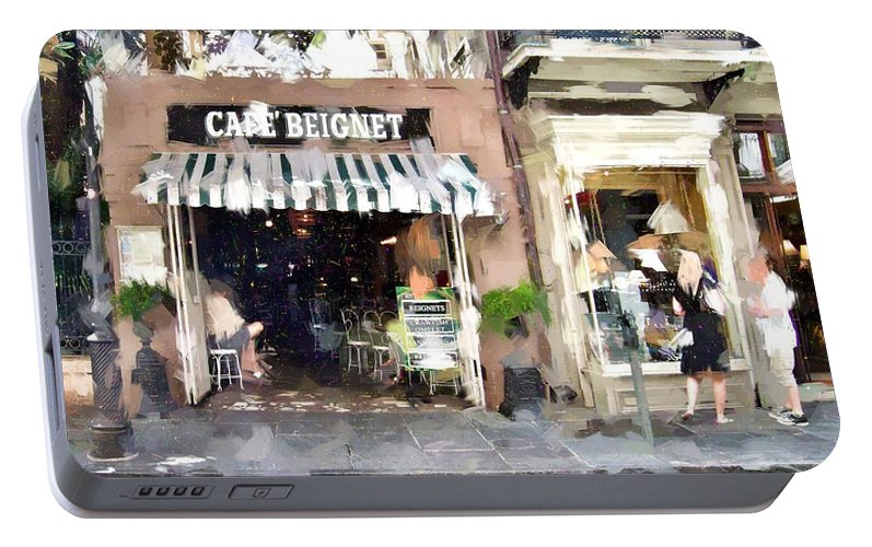 Cafe Portable Battery Charger featuring the photograph Cafe Beignet Summer Day by Scott Crump