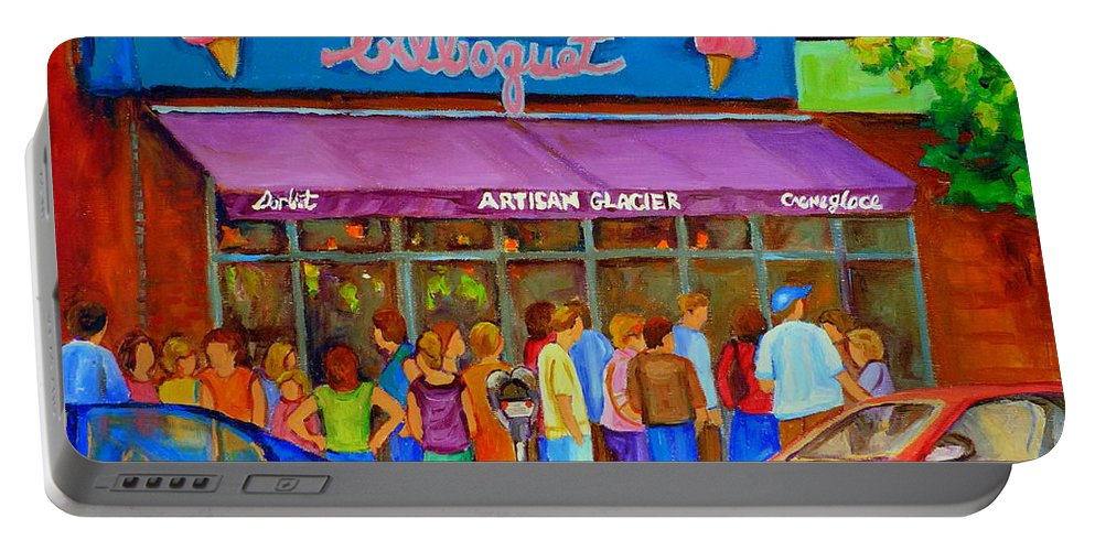 Cafe Bilboquet Portable Battery Charger featuring the painting Cafe Bilboquet Ice Cream Delight by Carole Spandau