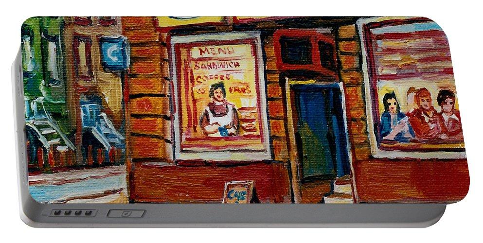 Cafe Bistro St.viateur Portable Battery Charger featuring the painting Cafe Bistro St. Viateur by Carole Spandau