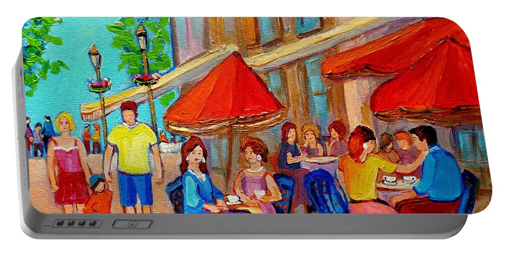 Cafescene Portable Battery Charger featuring the painting Cafe Casa Grecque Prince Arthur by Carole Spandau
