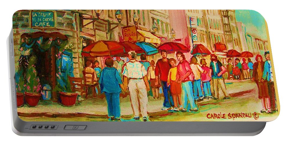 Cafe Scenes Portable Battery Charger featuring the painting Cafe Crowds by Carole Spandau