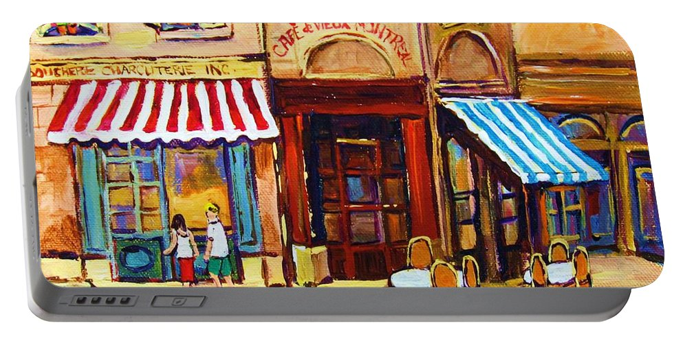 Old Montreal Outdoor Cafe City Scenes Portable Battery Charger featuring the painting Cafe De Vieux Montreal With Couple by Carole Spandau
