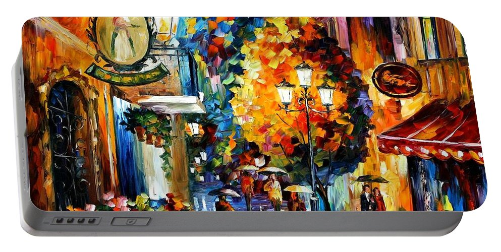 Afremov Portable Battery Charger featuring the painting Cafe In The Old City by Leonid Afremov