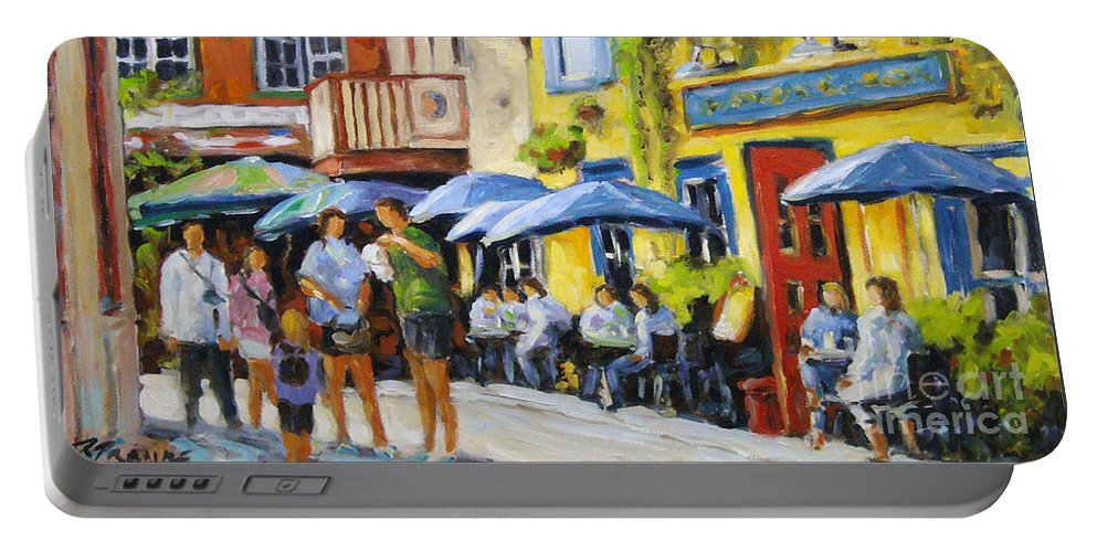 Balcony Portable Battery Charger featuring the painting Cafe In The Old Quebec by Richard T Pranke