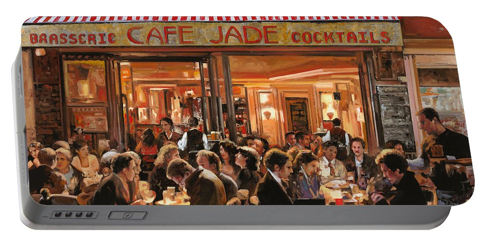 Brasserie Portable Battery Charger featuring the painting Cafe Jade by Guido Borelli