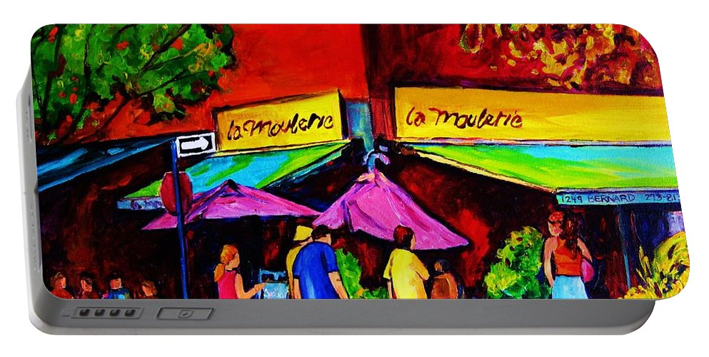Cafe Scenes Portable Battery Charger featuring the painting Cafe La Moulerie On Bernard by Carole Spandau
