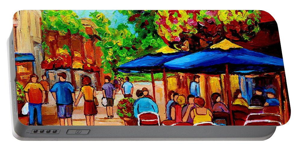 Cafe On Prince Arthur In Montreal Portable Battery Charger featuring the painting Cafe On Prince Arthur In Montreal by Carole Spandau