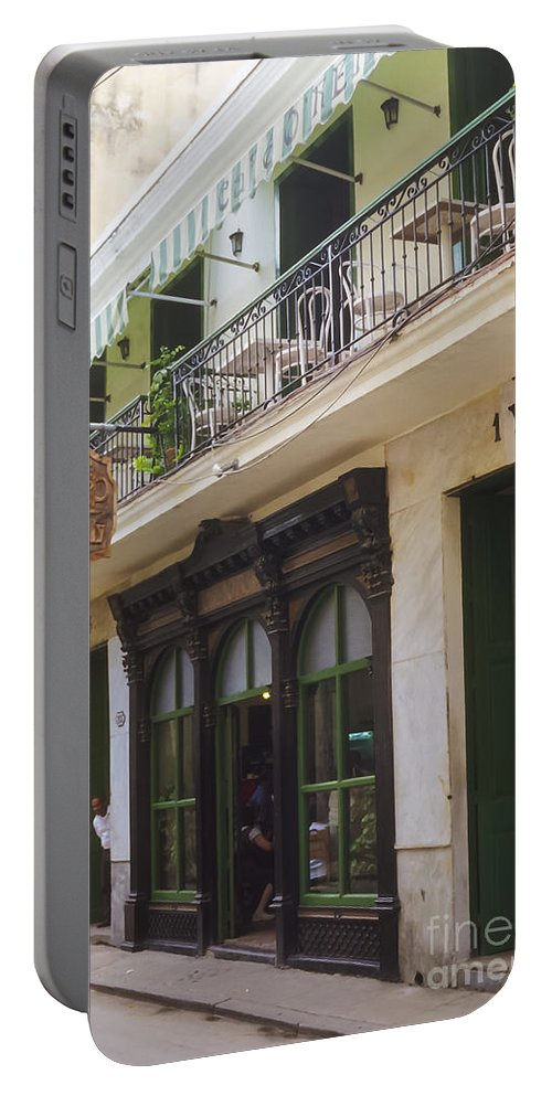 Havana Cuba Cafe O'reilly Cafes Restaurant Restaurants Eatery Eateries City Cities Cityscape Cityscapes Street Streets Door Doors Portable Battery Charger featuring the photograph Cafe O'reilly by Bob Phillips