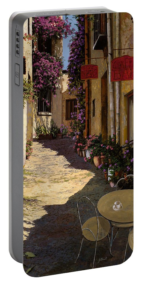 Caffe Portable Battery Charger featuring the painting Cafe Piccolo by Guido Borelli