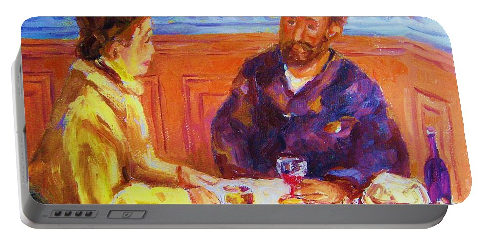 Cafes Portable Battery Charger featuring the painting Cafe Renoir by Carole Spandau
