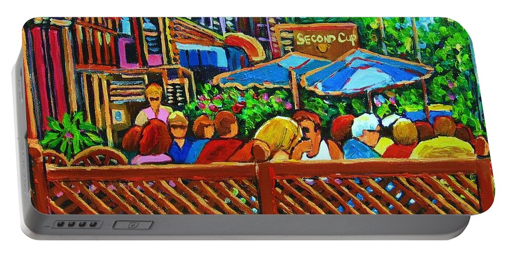 Cafes Portable Battery Charger featuring the painting Cafe Second Cup by Carole Spandau