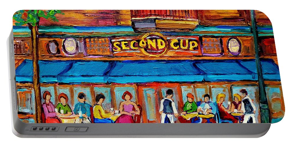 Cafe Second Cup Terrace Montreal Street Scenes Portable Battery Charger featuring the painting Cafe Second Cup Terrace by Carole Spandau