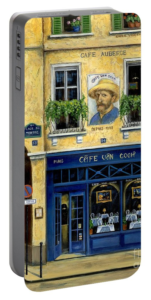 Europe Portable Battery Charger featuring the painting Cafe Van Gogh by Marilyn Dunlap