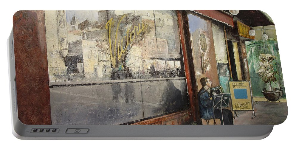 Cafe Portable Battery Charger featuring the painting Cafe Victoria by Tomas Castano
