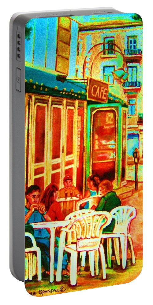 Cafes Portable Battery Charger featuring the painting Cafe Vienne by Carole Spandau