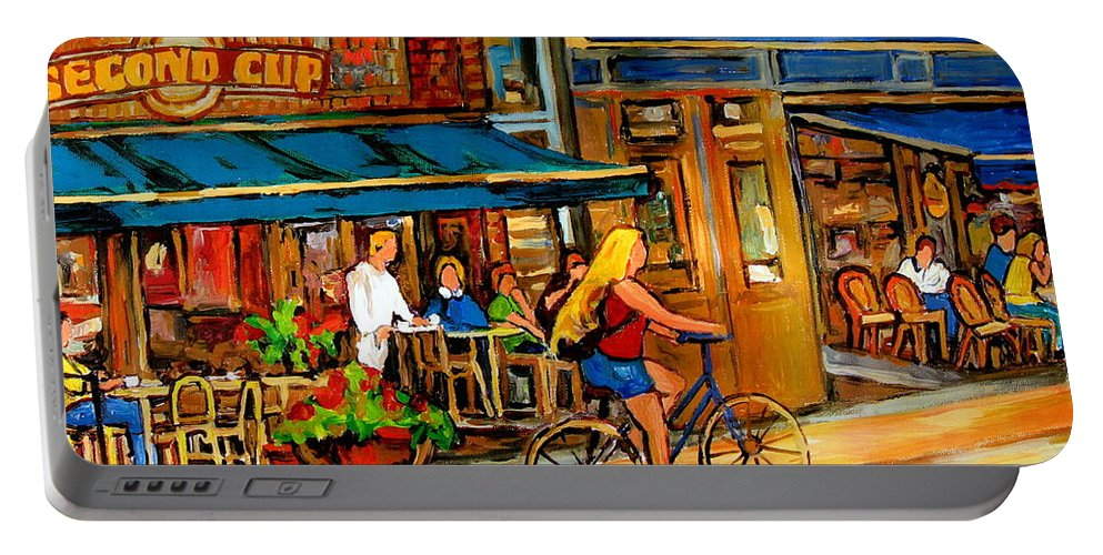 Cafes Portable Battery Charger featuring the painting Cafes With Blue Awnings by Carole Spandau