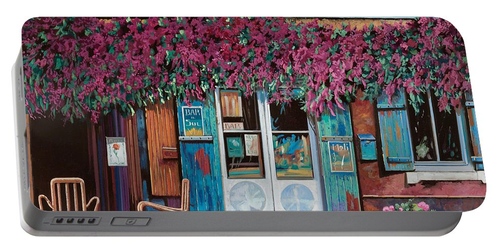 Caffe' Portable Battery Charger featuring the painting caffe del Aigare by Guido Borelli