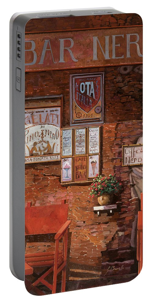 Caffe' Portable Battery Charger featuring the painting caffe Nero by Guido Borelli
