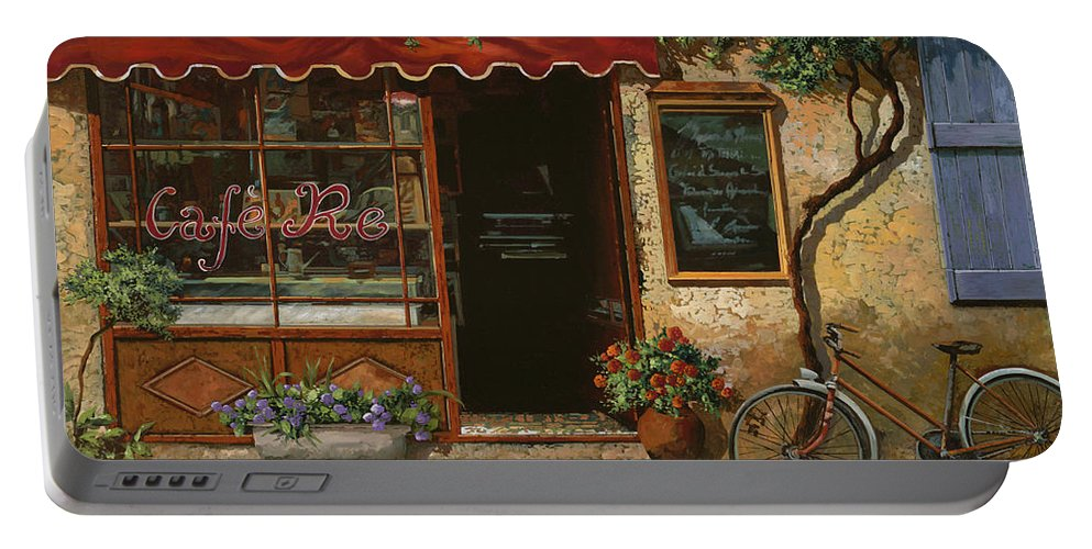 Caffe' Portable Battery Charger featuring the painting caffe Re by Guido Borelli