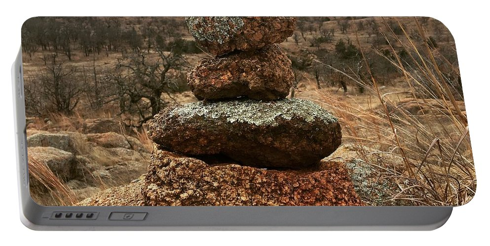 Rocks Portable Battery Charger featuring the photograph Cairn On The Mountain by Lori Douglas-Uddenberg