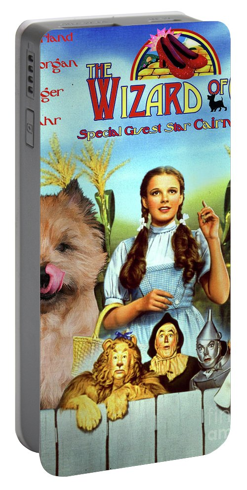 Cairn Terrier Portable Battery Charger featuring the painting Cairn Terrier Art Canvas Print - The Wizard Of Oz Movie Poster by Sandra Sij
