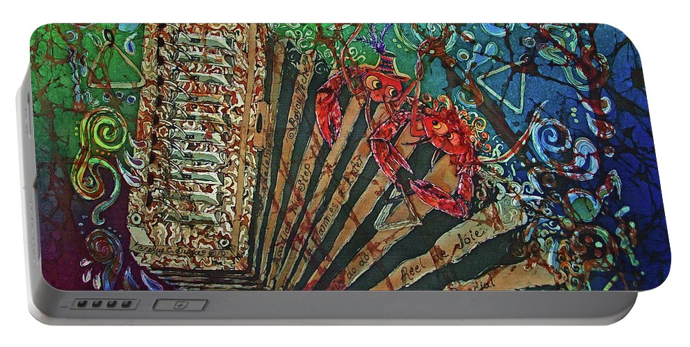 Cajun Portable Battery Charger featuring the painting Cajun Accordian by Sue Duda