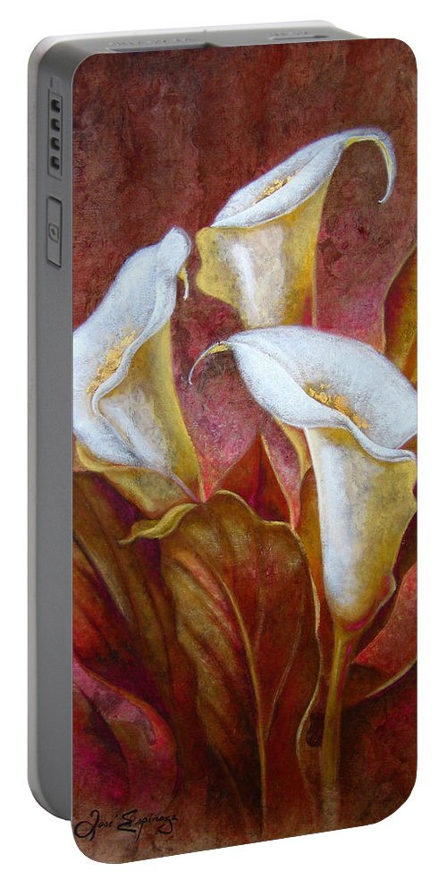 Calla Lillies Portable Battery Charger featuring the painting C A L A S . B O U Q U E T by J - O  N  E