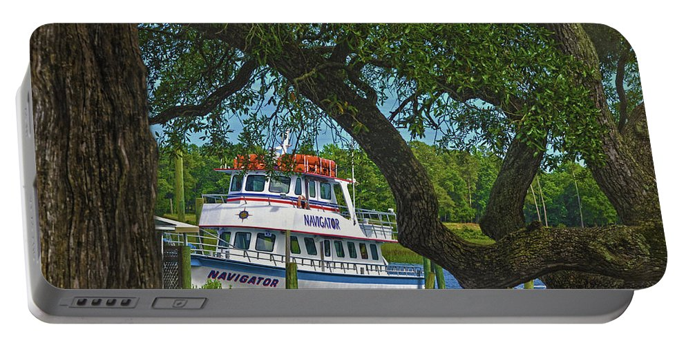 Deep Sea Fishing Boat Portable Battery Charger featuring the photograph Calabash Deep Sea Fishing Boat by Sandi OReilly