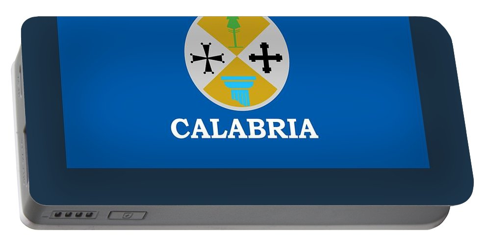 Flag Portable Battery Charger featuring the digital art Calabria, Italy Flag And Name by Frederick Holiday