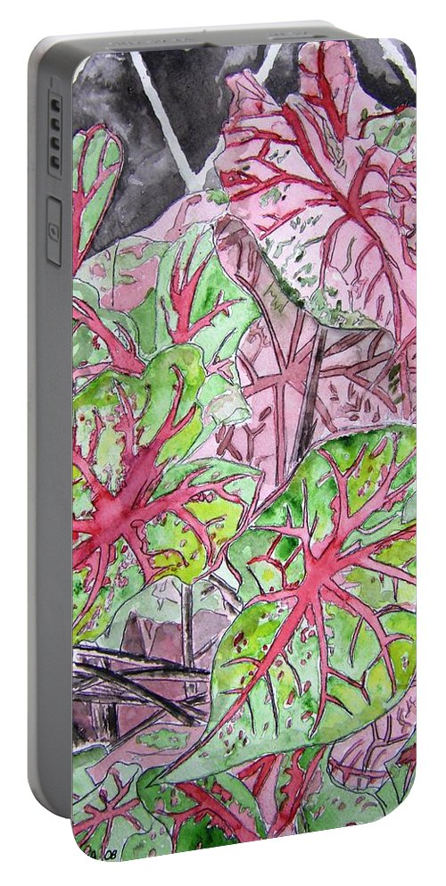 Watercolour Portable Battery Charger featuring the painting Caladiums Tropical Plant Art by Derek Mccrea