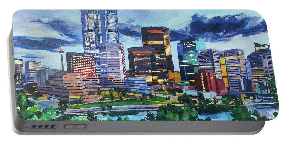 Calgary Portable Battery Charger featuring the painting Calgary Downtown Evening by Nel Kwiatkowska