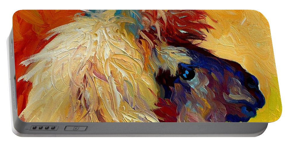 Llama Portable Battery Charger featuring the painting Calico Llama by Marion Rose