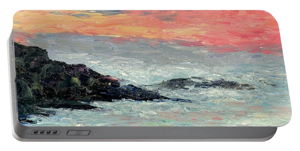 Seascape Portable Battery Charger featuring the painting California Coast by Gail Kirtz