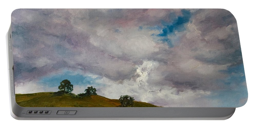Sky Portable Battery Charger featuring the painting California Hills by Rick Nederlof