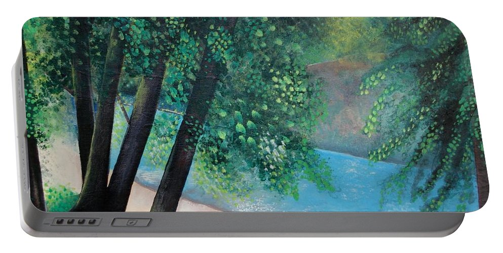 Landscape Portable Battery Charger featuring the painting California Magic by Helena Tiainen
