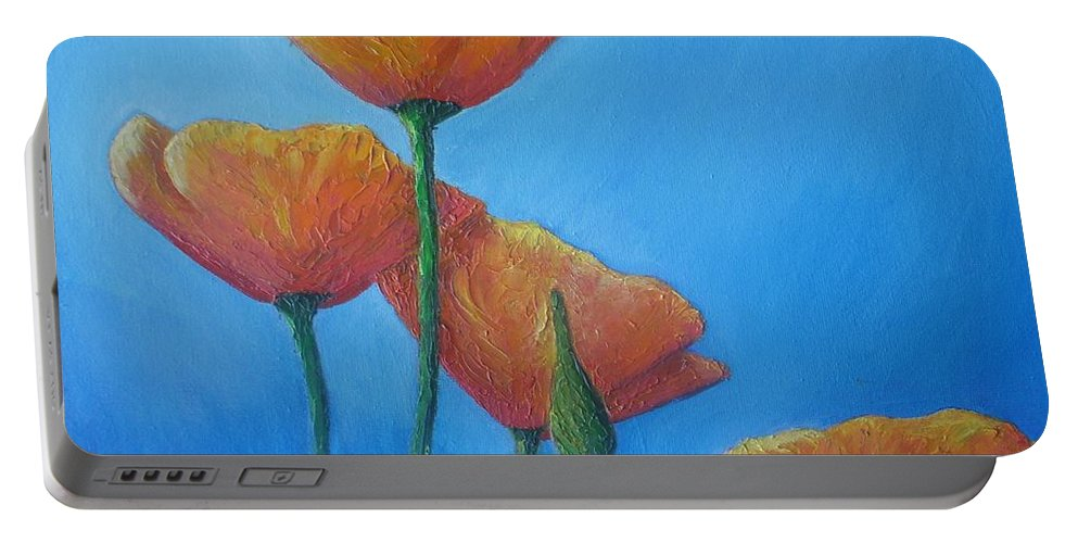 Poppies Portable Battery Charger featuring the painting California Poppies by Vesna Antic