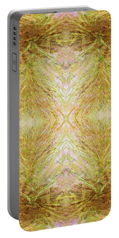 Abstract Portable Battery Charger featuring the mixed media California Spring Inner Reflection by Kristin Doner