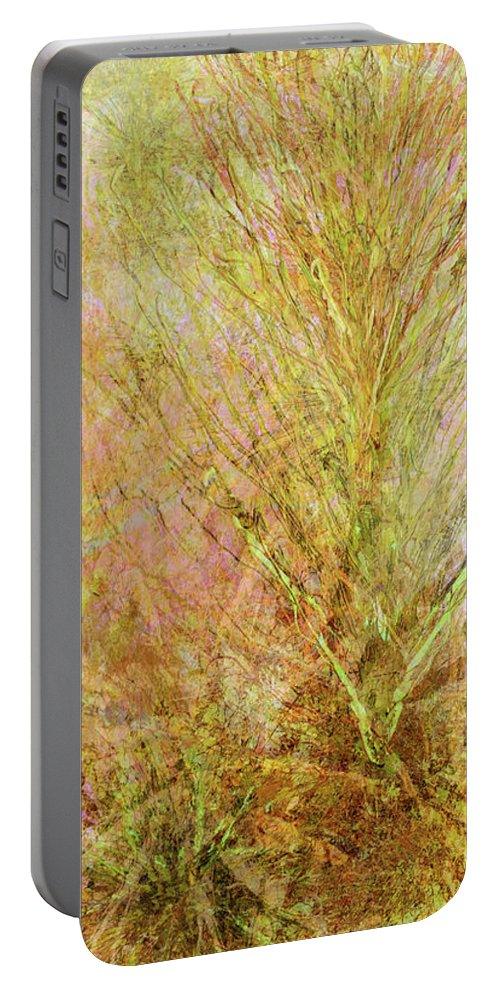Abstract Portable Battery Charger featuring the mixed media California Spring by Kristin Doner