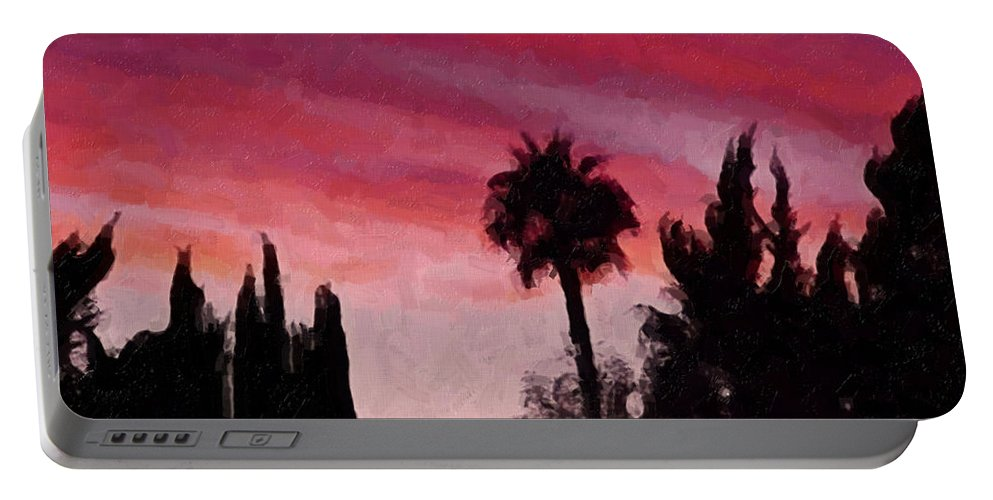California Portable Battery Charger featuring the painting California Sunset Painting 1 by Teresa Mucha