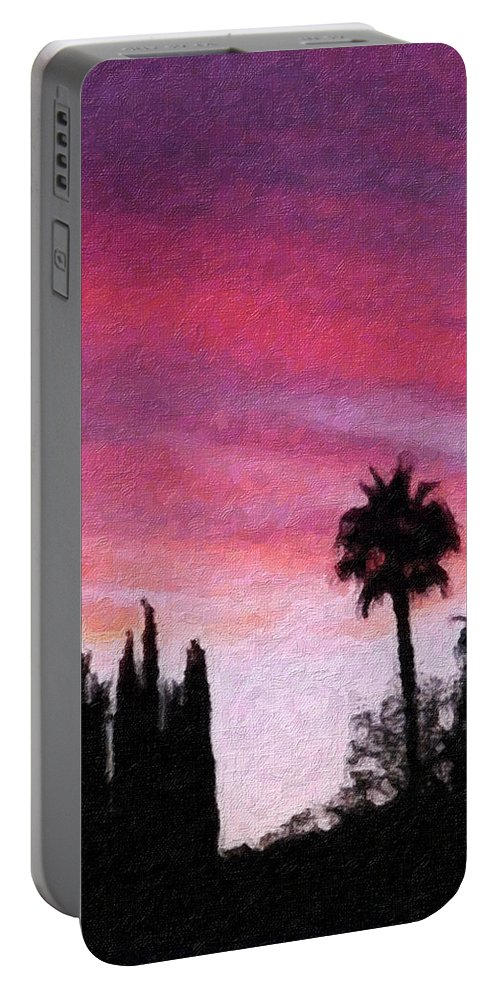 California Portable Battery Charger featuring the painting California Sunset Painting 2 by Teresa Mucha