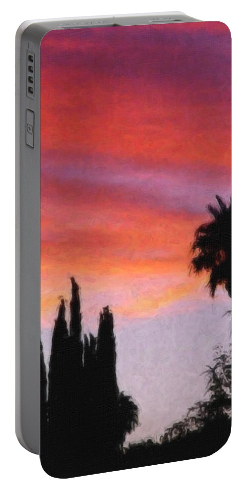 California Portable Battery Charger featuring the painting California Sunset Painting 3 by Teresa Mucha