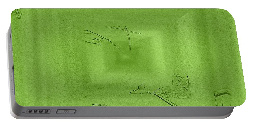 Abstract Portable Battery Charger featuring the digital art Call Me Misty Green by Tim Allen