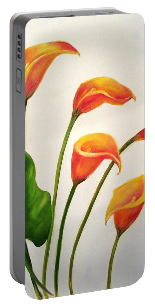 Calla Lilies Portable Battery Charger featuring the painting Calla Lilies by Carol Sweetwood
