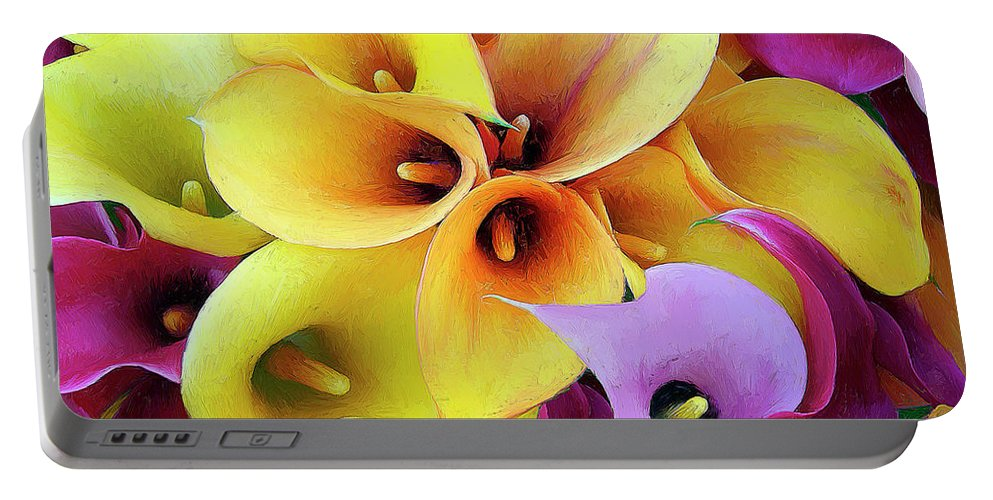 Flowers Portable Battery Charger featuring the painting Calla Lilies by Dominic Piperata