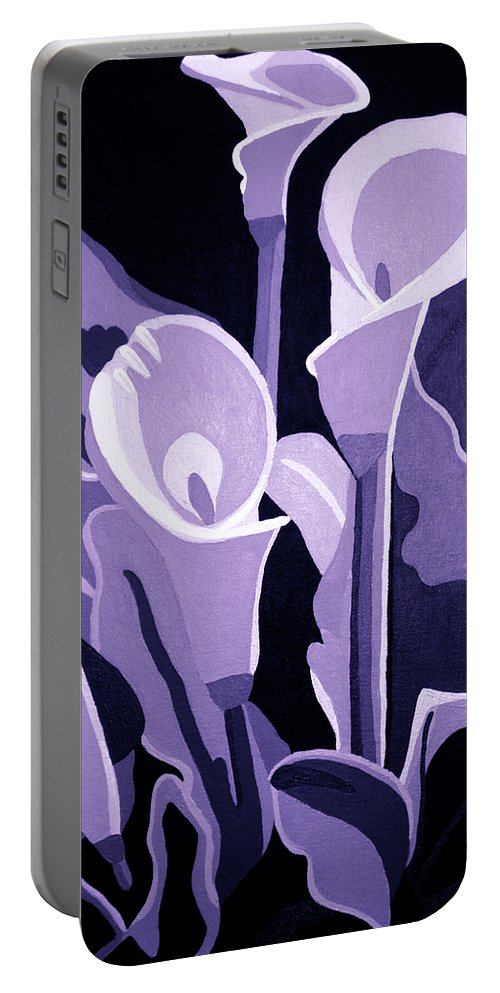 Calla Lillies Portable Battery Charger featuring the painting Calla Lillies Lavender by Angelina Vick