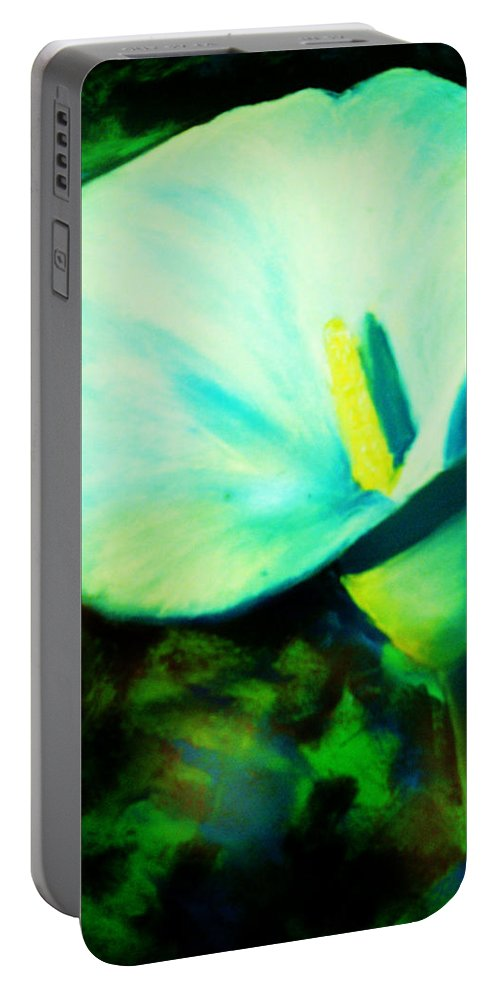 White Calla Lily Portable Battery Charger featuring the painting Calla Lily by Melinda Etzold