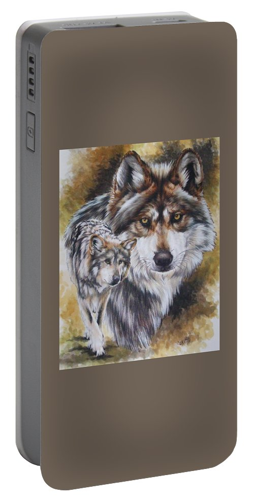 Wildlife Portable Battery Charger featuring the mixed media Callidity by Barbara Keith