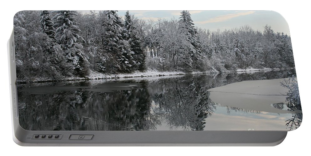 Calm And Frosty Portable Battery Charger featuring the photograph Calm And Frosty by Jutta Maria Pusl